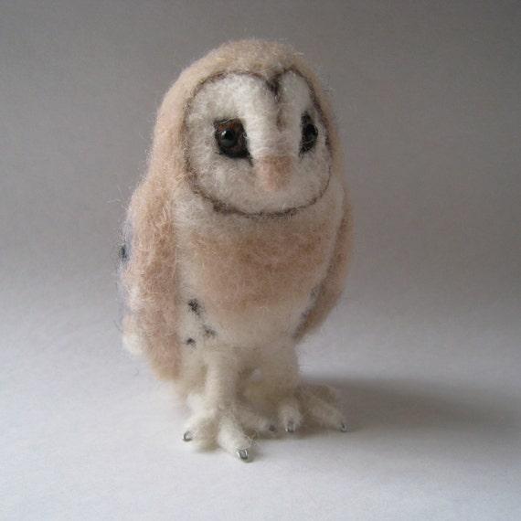 Mr. Barn Owl mini, needle felted bird