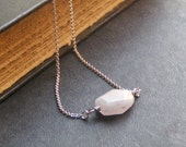 The Calm Before The Storm. Rose Quartz and sterling silver simply dainty necklace