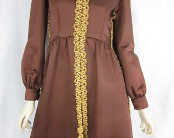 1960's Oscar De La Renta Couture Brown and Gold Dress