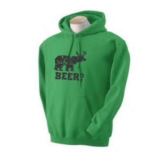 Mens Funny beer hoodie sweatshirt bear deer t shirt redneck hunter t shirt green womens hoodie