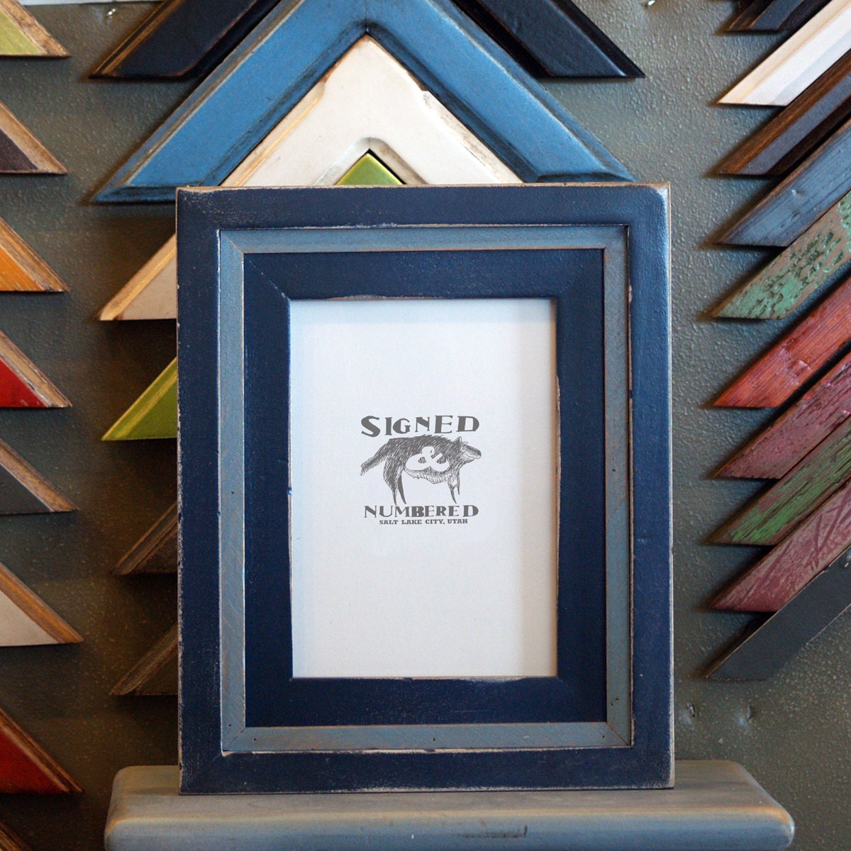 5x7 picture frame with vintage navy blue by signedandnumbered. Black Bedroom Furniture Sets. Home Design Ideas