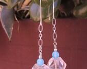 Iceberg Earrings - FREE Shipping - Long & Lovely w Large Czech Glass Nuggets, Aua Glass, Sterling Chain, Handmade Sterling Ear Wiresq