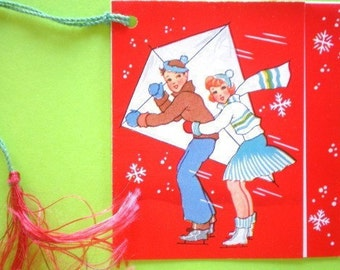 Antique 1920s KITE FLYING in the SNOW - Bridge Tally / Score Card