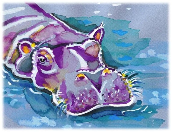 Happy Hippo-- Artist Signed Watercolor Print