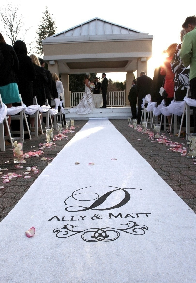 Wedding aisle runner personalized white for Wedding walkway