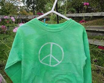 Peace Sign Shirt, Kids Peace Sign Shirt, Green Peace Sign Shirt, Girls Peace Sign Shirt, Boys Peace Sign Shirt, Long Sleeve Shirt (4/5) SALE