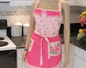 HANDMADE DESIGNER APRON : Double  apron, modern Style, Bella Claire --pink floral print/hot pink,with appliques on pockets