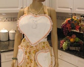 FULL APRON, Peach Apron with flower and cat print heart shaped white bib, traditional style