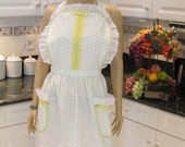 WOMAN'S,PLUS SIZE, Full Apron, Traditional, white lime green polka dots and ribbon trim with white lace