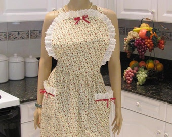 FULL APRON, Designer style apron in a red rose print, with red ribbons and lace trim, can fit plus sized , traditional  style, two pockets