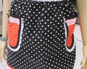 SEXY HALF APRON,in Black & White and red and white polka dotted fabric, trimmed with pearls and white lace,hand made