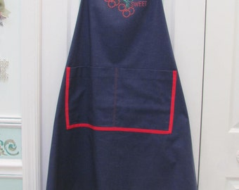 READY TO SHIP : Gardening/ chef apron ,navy blue with red bias trim,motif sweet cherries,anchor brass buttons,generous sized
