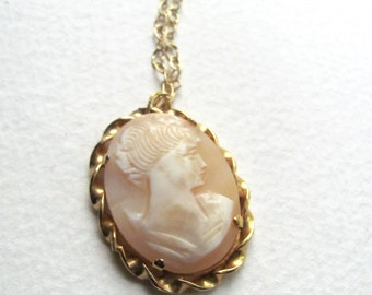 Pink vintage cameo pendant necklace on long 14k gold plated chain, upcycled vintage brooch, shell, victorian Edwardian style cameo