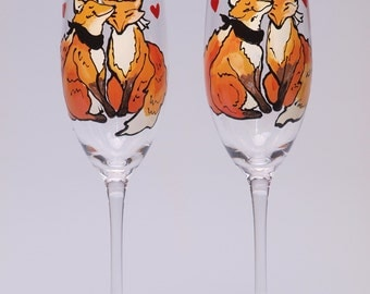 Hand painted Wedding Toasting Flutes Set of 2 Personalized Champagne glasses Lovely Fox