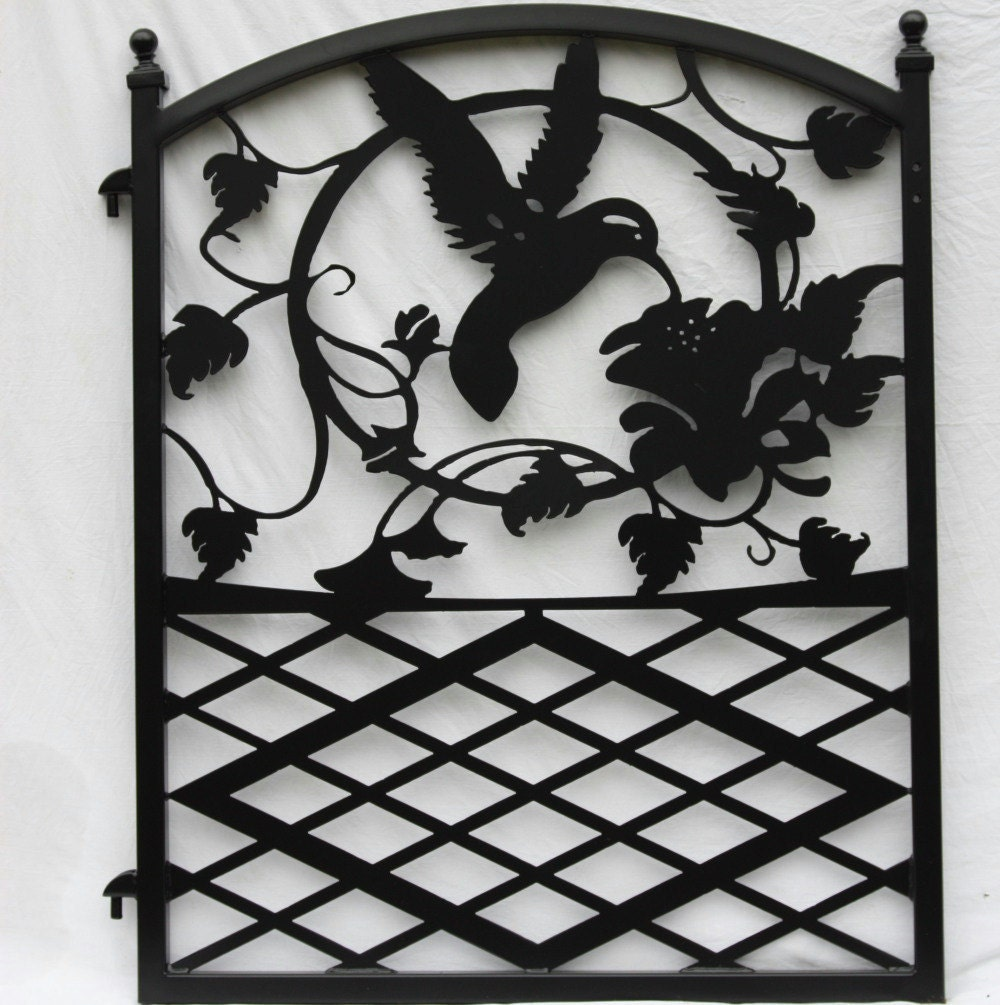 Ornamental Wrought Iron Garden Fence Entrance Gate Hummingbird