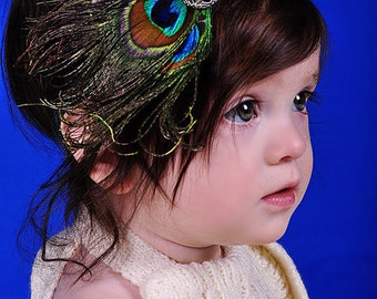 Triple PEACOCK Feather Headband with Antique Style Pearl