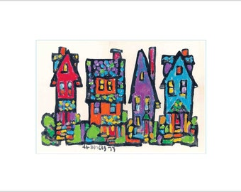 Stylized Colorful Whimsical Fine Art Print City Neighborhood House - Red, Orange, Blue Stylized Affordable Wall Decor