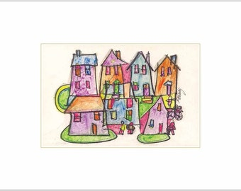 Whimsical Colorful Fine Art Limited Edition Print - City Neighborhood Houses Urban Upstate New York