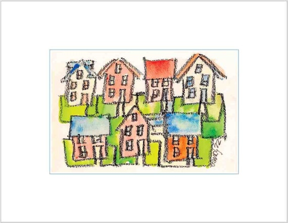 Stylized Fine Art Print - Whimsical Colorful Watercolor Wash of City Neighborhood Houses in  Western New York State