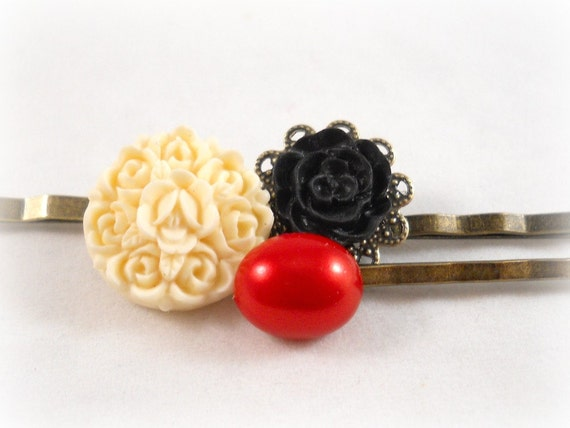 Pretty Bobby Pins Red Black Ivory Floral Hair Pin Fancy Bobby Pins Elegant Hair Clips Bobbypins