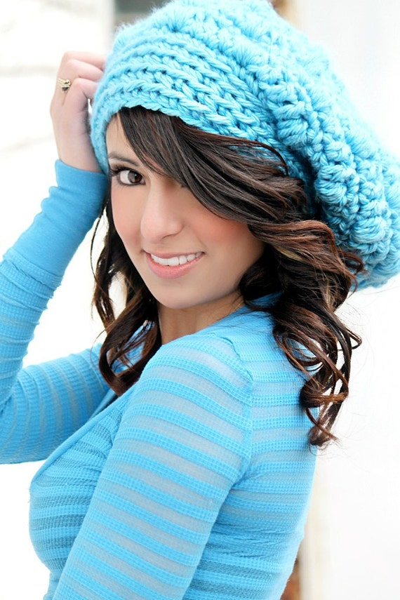 slouchy hat womens hat trendy hat bright by foreverandrea
