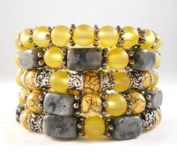 Bracelet Stack Yellow and Gray Stone and Glass Bracelets Arm Candy Bracelets Layered Bracelet Gift Ideas for Women Jewelry for Teens