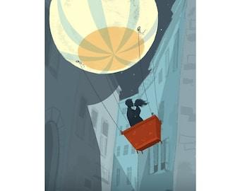 Moon Balloon   Fine Art Print   Romantic Hot Air Balloon Illustration Inspired by e.e. cummings    Flimflammery