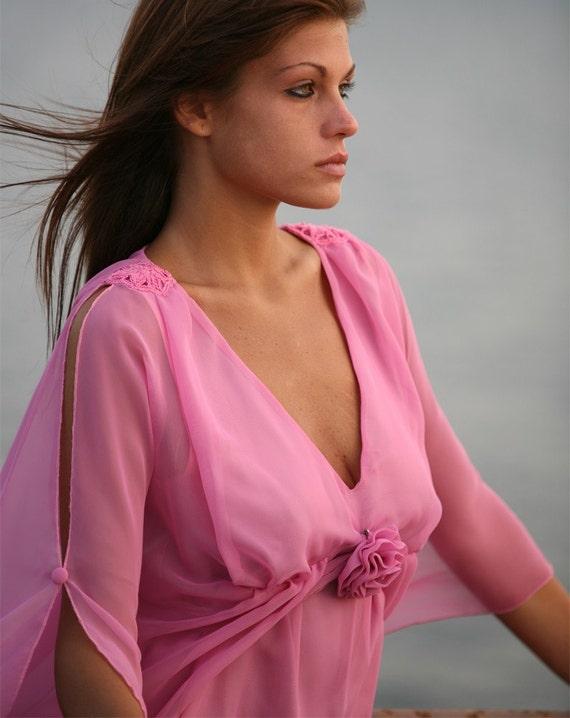 rose robe courte officielle d esse grecque en mousseline de. Black Bedroom Furniture Sets. Home Design Ideas