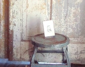 vintage stool, industrial style, on casters