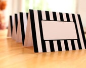 Editable Black and White Stripe Place Cards