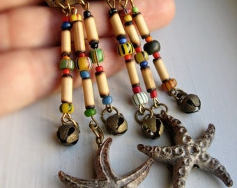 Starfish Earrings  - Colorful Long Handcrafted / Vintage