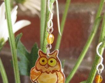 Teeny Yellow Owl Earrings