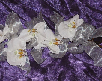 White Orchid and Silver Ribbon Bouquet
