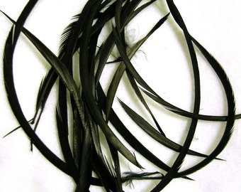 BLACK BIOTS loose goose feather (5-7 inches)(BLACK, 3 package sizes) craft material for hats, headdresses, hair clips and headbands
