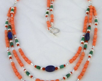 Coral necklace, three strand salmon tangerine orange, Arangetram SALE. With lapis, pearl and green turquoise. Matching earrings.