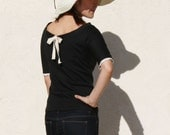 Boat neck Lace Top-Black jersey with ivory ribbon