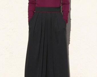 Pleated Maxi Skirt with Pocket, Winter Skirt, Jersey Maxi Skirt, Long Black Skirt, Full Skirt, Midi Skirt, Plus Size Skirt / Handmade Skirt