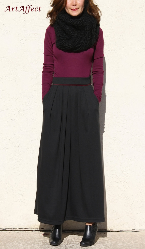 Items similar to Pleated Maxi Skirt with Pocket, Winter ...