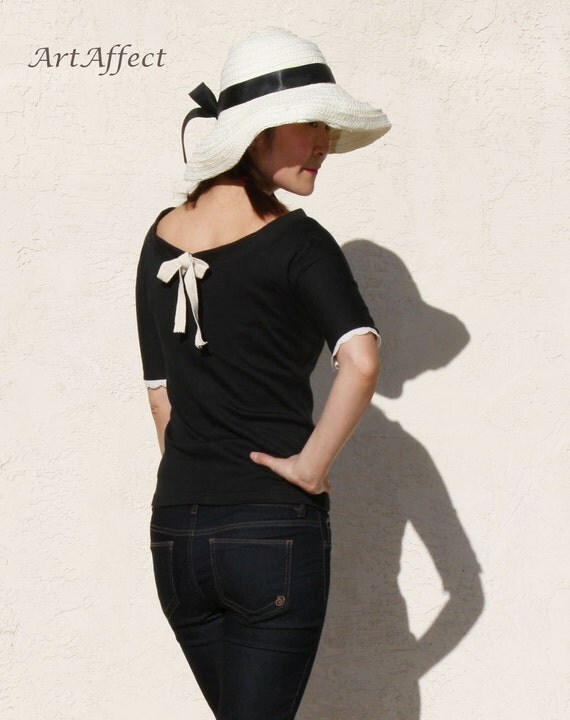 Boatneck Top with Tie Back, Slim Black Tshirt, Lace Trim Top, Sweet Top, Short Sleeve Tshirt, Jersey Top  -Black jersey with ivory ribbon