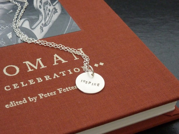 INSPIRE Charm Silver Necklace, Personalized Gift, Motivational Jewelry, Hand stamped Charms by m. frances