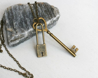 Key and Lock Necklace (5 different keys to choose)