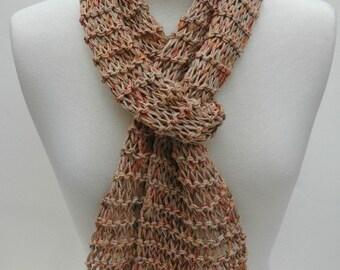Cotton Scarf- Hand Knit/ Beige,Sea Green, Rose