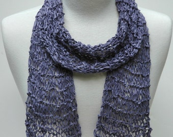 Silk Scarf- Hand Knit/  Lavender/ Wisteria