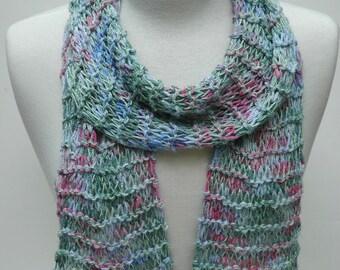 Silk Scarf- Hand Knit/  Blue-Green, Rose,  Mauve