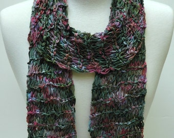Cotton Scarf- Hand Knit/  Green. Mauve, Merlot, Gray