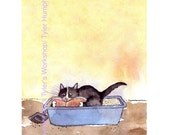 Funny Cat Card, Cat Greeting Card, Cat Cartoon, Watercolor Cat Illustration Print , Offbeat Sarcastic Funny Card Cats 'Litterbox Leisure'