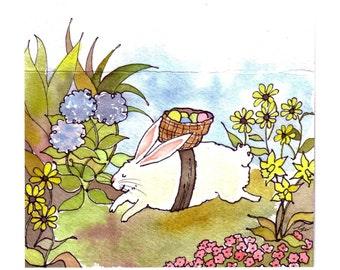 Easter Card - Easter Greeting Card- Easter Bunny Rabbit Easter Eggs Flowers Garden Watercolor Painting Rabbit Illustration