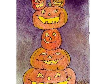 Halloween Card Pumpkins Jack O Lanterns Greeting Card Spooky Pumpkins Watercolor Painting Greeting Card Print 'Pumpkin Pile Up'