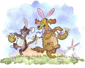 Easter Cards Watercolor - Funny Easter Greeting Card - Funny Cat and Dog Card - Spring Watercolor Pets Cartoon Print 'Easter Pets'