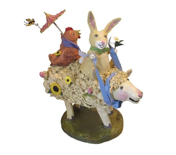 Easter Art - Funny Paper Mache Animals Bunny Rabbit Chicken Sheep Paper Sculpture Animal Art Dolls - Easter Ornament